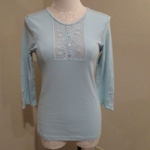 Anthropologie Tiny lace crochet henley shirt top